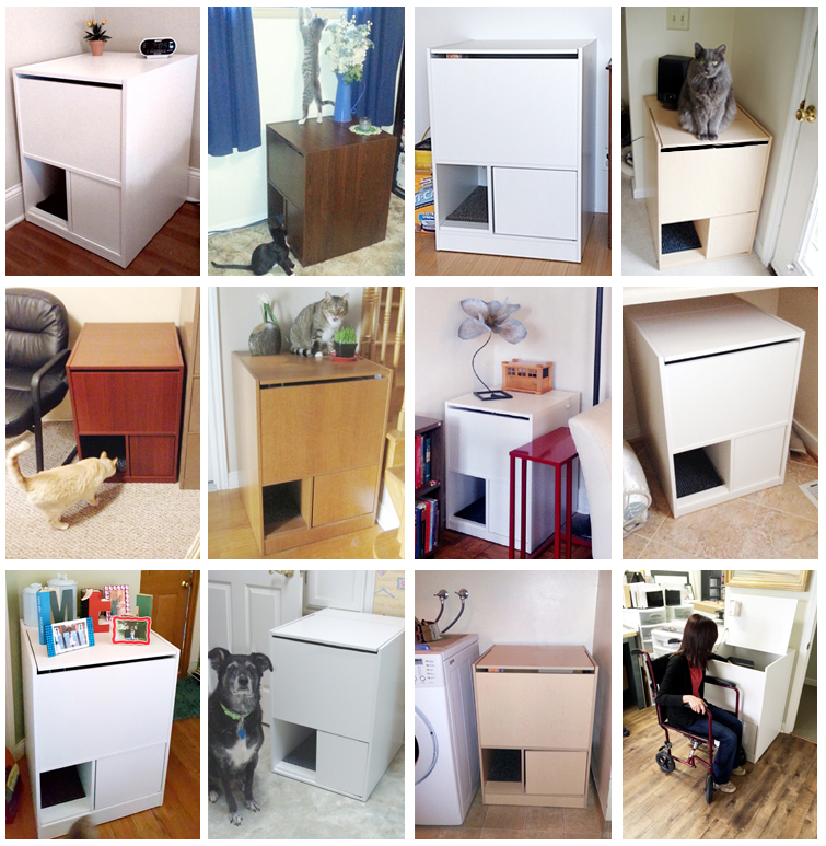 The Out of Sight Litter Box® is a patented, award winning cat litter box  cabinet system. Cat litter furniture